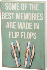 Flip Flop Memories Wooden Box Sign - By the Sea Decor
