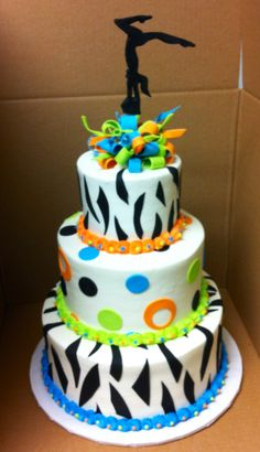 Gymnastics cake...my daughter Sarah and niece Olivia would love this!