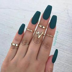 A manicure is a cosmetic elegance therapy for the finger nails and hands. A manicure could deal with just the hands, just the nails, or Acrylic Nail Designs, Nail Art Designs, Acrylic Gel, Acrylic Nails Coffin Matte, Acrylic Nails Green, Pink Coffin, Autumn Nails Acrylic, Matte Stiletto Nails, Dark Nail Designs