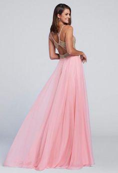 Ellie Wilde for Mon Cheri EW117118 Metallic Lace Prom Dress -BACK VIEW