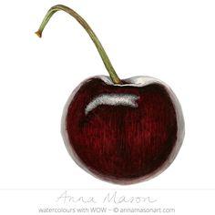 "Cherry © 2009 ~ annamasonart.com ~ 23 x 23 cm (9"" x 9"") #AnnaMasonNewSite"