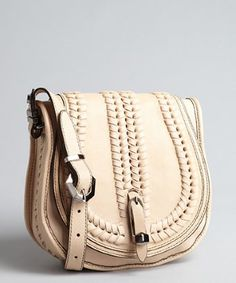 want want want!! $221 *orYANY sand leather 'Reese' whip stitched saddle bag | BLUEFLY up to 70% off designer brands