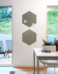 Hexagon Pinboard, Small in Stone Land Of Nod, Whiteboard, Wall Spaces, All Design, Fiber, Decals, Strong, Shapes, Texture
