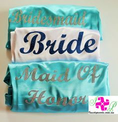 Personalized Bride Robe Bridesmaid robes bridal party robes Silk wedding robes Aqua Teal Turquoise Monogrammed Robes .