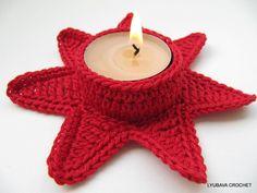 Candle Holder patrón de ganchillo Estrella Roja de Navidad