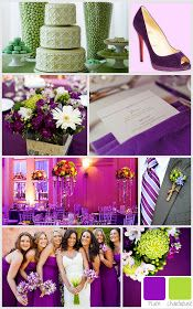 plum and chartreuse wedding colors, purple and green wedding colors