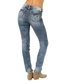 Love this Medium Blue Distressed Pencil Skinny Jeans - Women by Silver Jeans Co. on #zulily! #zulilyfinds