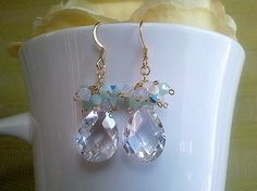 Spring Collection Clear Gold Earrings by LaLaCrystal on Etsy, $30.50