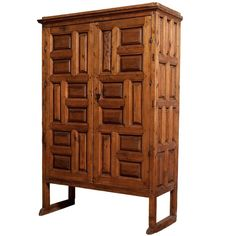 18th Century Mexican Carved Pine Armoire For Sale