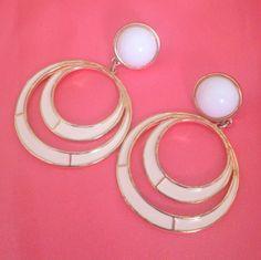 Signed DARIA Enameled Drop Hoop Gold Tone Pierced Earrings by BorrowedTimes on Etsy