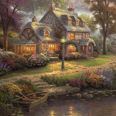 Sunset on Lamplight Lane – Limited Edition Canvas Fantasy Art Landscapes, Fantasy Landscape, Landscape Art, Landscape Paintings, Oil Paintings, Thomas Kinkade Art, Thomas Kincaid, Kinkade Paintings, Art Thomas