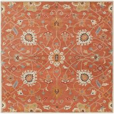 Caesar Rust And Peach Square: 8 Ft Rug Surya Area Rugs Rugs Home Decor