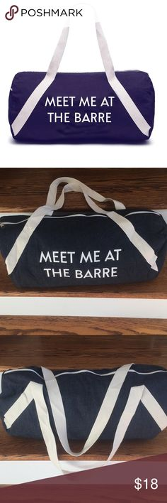 Barre Denim Duffle Gym Bag Super cute and practical denim gym bag Also great for a weekend travel bag Brand new and never been used Bags Travel Bags