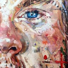 With bold brush strokes and geometric shapes, Andrew Salgado extracts order from chaos to create his emotionally charged portraits. Eye Painting, Oil Painting Abstract, Figure Painting, Portrait Art, Painting Portraits, Painting Styles, Oil Paintings, A Level Art, Abstract Painters