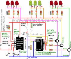 LED Pattern Flasher Using 555 Timer, 4017 Counter and 2N2222A Transistors With Variable Resistance 0-10K at 30% | IamTechnical.com