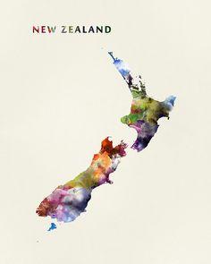 New Zealand #newzealand #wellington #state #map #art #prints #stickers #stationery #gift #colorful