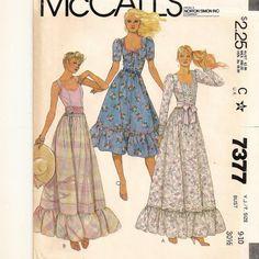 A Long or Short, Sleeveless, Short or Long Sleeve, Sweetheart Neckline, Ruffled Hemline Dress Pattern for Juniors, ©1980