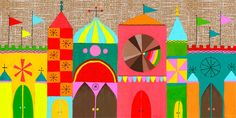 2nd or 3rd Happy Town Mural Collage -have pre-cut shapes in various bright colors, let kids assemble along the wall
