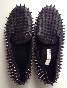 775d4eca869 UNIF Black Leather Hellraiser Loafer Flats w  Silver Spikes