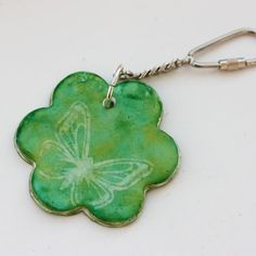 Green Polymer Clay Butterfly Flower Bag Charm, Keyring - Bet you could make into a necklace