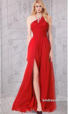 Elegant One shoulder Ruched Front split chiffon gownPortia Freeman 2013-British-Fashion-Awards