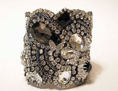 Black Crystal Cuff With Adjustable Clasp Ready to ship one just like this on Etsy, $265.00