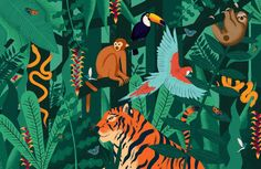 Check out the Jungle Animals Wallpaper Mural, a fun design for a child's bedroom to introduce them to the cute forest animals they will love for years to come.