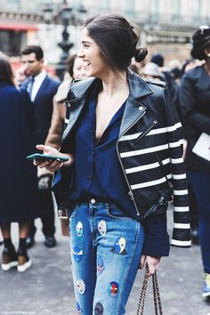 Paris_Fashion_Week-Fall_Winter_2015-Street_Style-PFW-Striped_Biker_Jacket-Stella_McCartney_Jeans-