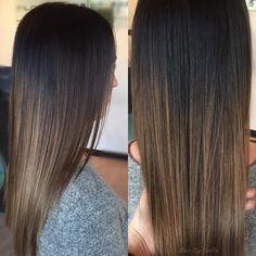 dark brown hair with light brown balayage