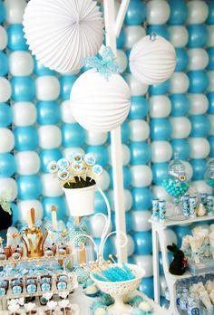 Bautizo en azul decoraciones y mesas dulces - globos