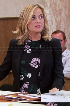 Leslie's black floral top on Parks and Recreation.  Outfit Details: http://wornontv.net/44754/ #ParksandRecreation