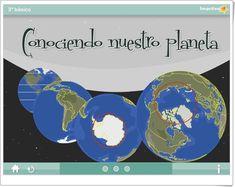 """""""Conociendo nuestro planeta"""" es una actividad, de  web.imactiva.cl, en la que, mediante exposiciones y actividades interactivas, se promueve el aprendizaje de las líneas imaginarias de la Tierra y de continentes y océanos."""