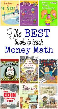 This great list of books to teach money math concepts covers everything from the history of money to counting money to saving and investing! The ultimate list of money books for kids! Math For Kids, Fun Math, Math Games, Math Activities, Math Math, Math Literacy, 19 Kids, Math Fractions, Math Teacher