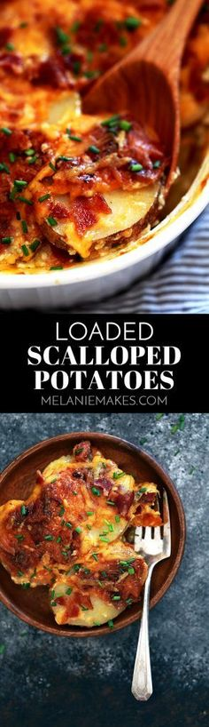 These Loaded Scalloped Potatoes are sure to steal the show at your dinner table. Sliced skin-on potatoes are layered with butter, chives, bacon and cheddar cheese. Repeat. The layers are then covered with an amazing milk and yogurt mixture to create the m