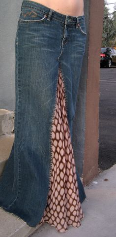 Recycled Long Jean Skirt with Sheer Inlay by Rehasht on Etsy, $180.00