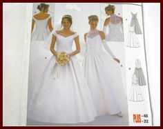 Wedding Gown Dress Sewing Pattern, UNCUT Burda 8475 with Chevron Drop Waist Back Lace overlay & Neckline Variations Sizes 12 to 22.