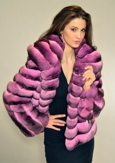 HORIZONTAL PURPLE CHINCHILLA JACKET - WOMEN FURS