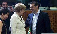 German Chancellor Angela Merkel (L) talks with Greek Prime Minister Alexis Tsipras (R) at the start of an EU-CELAC Latin America summit in Brussels, Belgium June 10, 2015.