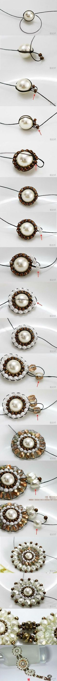 A-ha! I was trying to figure this out a few months ago - and now, I know. :) (make this bracelet with fancy pearl or rhinestone buttons and beads instead - much easier)~