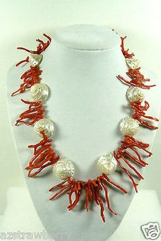 AND CRAFTED STRAND NATURAL RED CORAL BRANCH BEADS PEARLY COIN SHELL NECKLACE