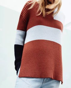 New Knits! Boxy shapes get a colour-block update for the new season.
