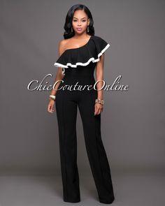 Chic Couture Online - Atlantic Black Off-White Trim Single Shoulder Jumpsuit.(http://www.chiccoutureonline.com/atlantic-black-off-white-trim-single-shoulder-jumpsuit/)