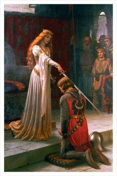 Der Ritterschlag, ca. 1901 Kunstdruck von Edmund Blair Leighton (engl. Maler 1853-1922, Kunststil praraffaelitisch, romantisch, oft Szenen aus d. Mittelalter)