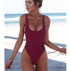 One Piece Swimsuit Solid Backless Brazilian