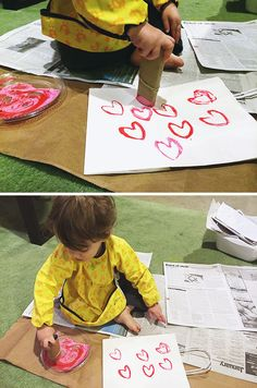 Toilet-paper-tube-heart-stamp. Perfect activity for toddlers. #valentinesday #toddlerprojects