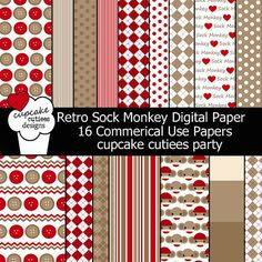 Retro Sock Monkey  Digital Collage Sheets 85 by by cupcakecutiees, $5.00
