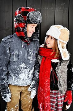 Winter photos. Kids have snow on them...nice detail that makes it authentic and not just a pose.