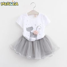 Menoea Girls Dress New Clothes 100% Summer Fashion Style Cartoon Cute Little White Cartoon Dress Kitten Printed Dress $12.39 => Save up to 60% and Free Shipping => Order Now! #fashion #woman #shop #diy www.uniquebaby.ne...