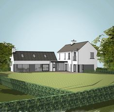 Bespoke Homes — Paul McAlister Sustainable and Passive House Architects - Portadown, Belfast, Northern Ireland Modern Bungalow House, Modern House Design, Bungalow Exterior, Small Bungalow, Rural House, Farm House, House Designs Ireland, Passive House, Modern Farmhouse Plans