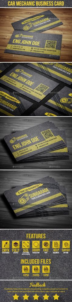 Car Mechanic Business Card — Photoshop PSD #repair #garage • Available here → https://graphicriver.net/item/car-mechanic-business-card/15659615?ref=pxcr